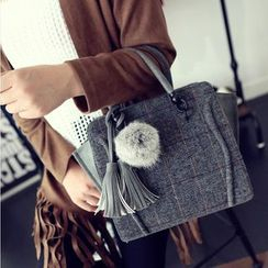 Secret Garden - Check Woolen Handbag