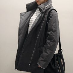 NANING9 - Funnel-Neck Zip-Up Padded Coat