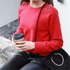PEPER - Faux-Pearl Detail Raglan-Sleeve T-Shirt