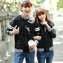Igsoo - Matching Couple Faux Leather Panel Baseball Jacket