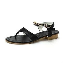 MODELSIS - Faux-Leather Chain-Trim Thong Sandals