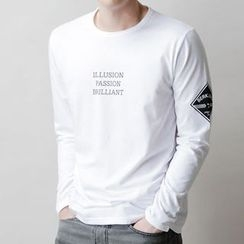 Seoul Homme - Round-Neck Long-Sleeve Printed T-Shirt