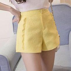 Aikoo - Scalloped-Trim Jacquard Shorts