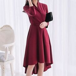 Q.C.T - Elbow-Sleeve Ruffle Dress
