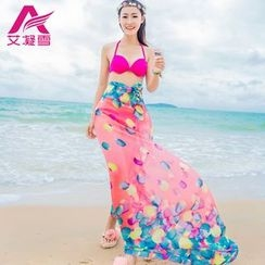 Agisnow - Print Chiffon Beach Cover-Up