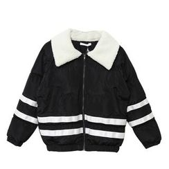 Mr. Cai - Contrast-Stripe Padded Zip Jacket