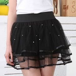 Rita Zita - Faux Pearl Layered Tulle Skirt