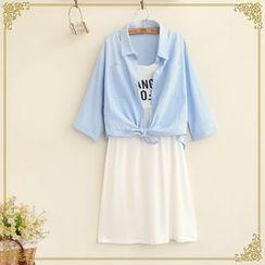Fairyland - Set: Lettering Sleeveless Dress + Elbow-Sleeve Shirt