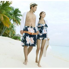 Anfory - Couple Matching Floral Print Halter Swimdress / Swim Trunks