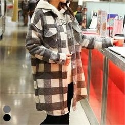 PINKSISLY - Dual-Pocket Gingham Long Shirt