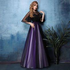 Coeur Wedding - Mesh Panel Elbow-Sleeve Evening Dress