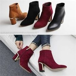 Reneve - Faux-Leather Chunky-Heel Boots