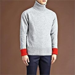 THE COVER - Turtle-Neck Contrast-Cuff Wool Blend Sweater