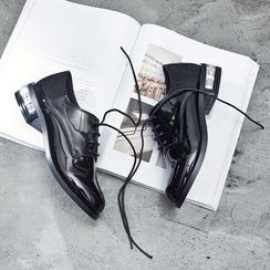 VIAN - Low Block Heel Lace-Up Patent Oxford Shoes