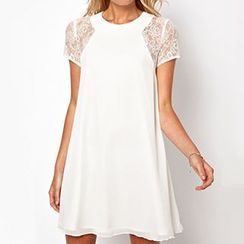 LIVA GIRL - Short-Sleeve Lace Dress