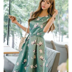 Dowisi - Floral Print Sleeveless A-Line Midi Dress