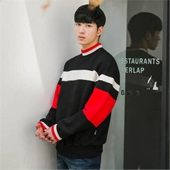 STYLEMAN - Color-Block Mock-Neck T-Shirt