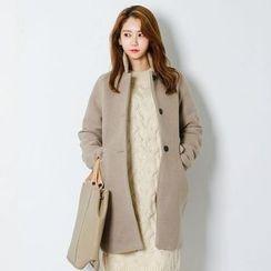 FASHION DIVA - Stand-Collar Single-Breasted Coat