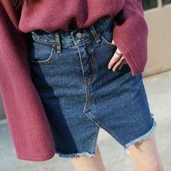 Envy Look - Cutout-Front Denim Mini Skirt