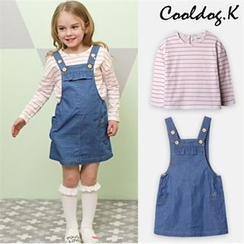 WALTON kids - Girls Set: Denim Suspender Dress + Striped T-Shirt