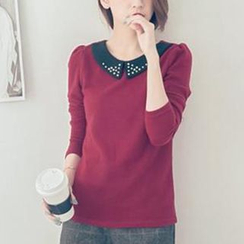 Tokyo Fashion - Long-Sleeve Beaded Contrast-Collar Top