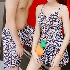 Sweet Splash - Floral Print Swimdress / Couple Matching Swim Trunks