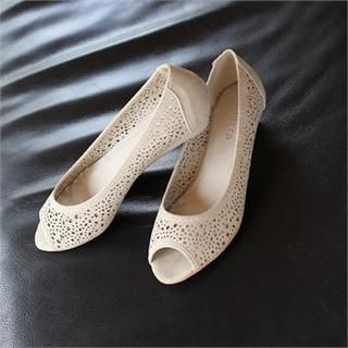 Styleberry - Peep-Toe Perforated Flats