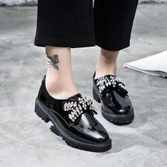 VIAN - Rhinestone Bow-Accent Patent Loafers
