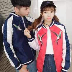 Evolu Fashion - Couple Matching Bird Embroidered Bomber Jacket