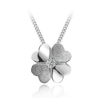 BELEC - 925 Sterling Silver Four-leaf Clover Pendant and Necklace-40cm
