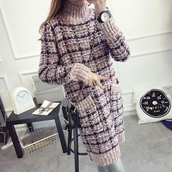 FR - High Neck Plaid Long Sweater