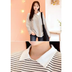 DEEPNY - Collared Long-Sleeve Striped T-Shirt