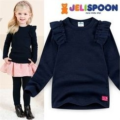 JELISPOON - Girls Frill-Shoulder T-Shirt