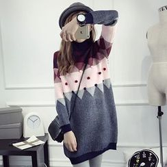 FR - Pom Pom Turtleneck Long Sweater