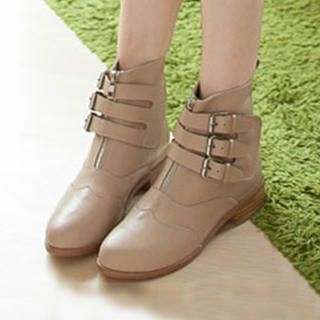 Lane172 - Genuine-Leather Buckled Short Boots