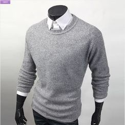 WIZIKOREA - Crewneck Waffle Sweater