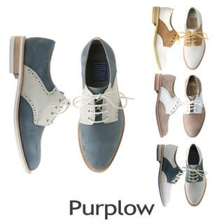 Purplow - Color-Block Lace-Up Oxfords