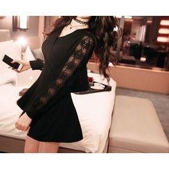 Marlangrouge - Lace-Panel A-Line Mini Dress