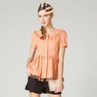 O.SA - Fringed-Trim Pleated Chiffon Blouse