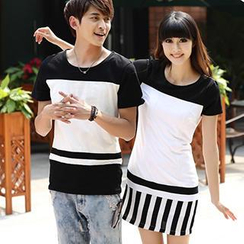 Igsoo - Couple Short-Sleeve Color-Block T-Shirt / T-Shirt Dress