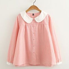 ninna nanna - Peter Pan Collar Plaid Shirt