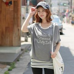 CLICK - Set: Scoop-Neck Lettering Print T-Shirt + Stripe Tank Top