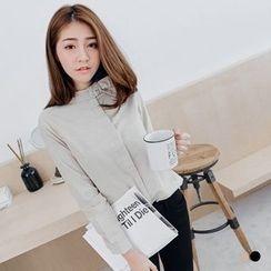 OrangeBear - Mandarin Collar Cotton Blouse