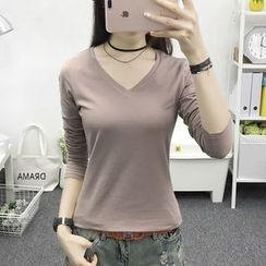 Cottony - Long Sleeve V-Neck T-Shirt