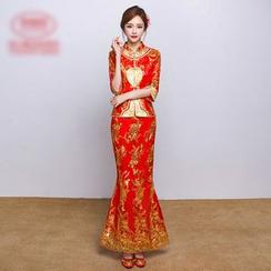 Amanecer - Elbow-Sleeve Wedding Cheongsam