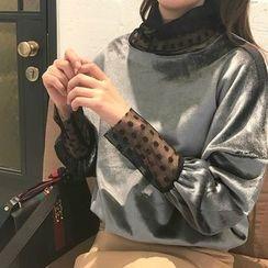 Alfie - Dot Lace Panel Loose-Fit Turtleneck Velvet Pullover
