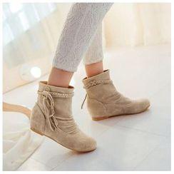 CITTA - Braided Tassel Hidden Wedge Short Boots