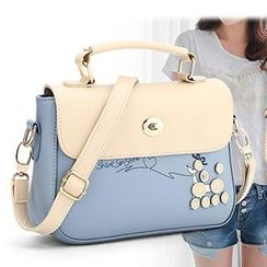 Rabbit Bag - Faux-Leather Patterned Color-Block Satchel