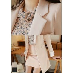 MyFiona - One-Button Slim-Fit Long Jacket