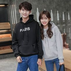 Azure - Couple Matching Letter Fleece-lined Hoodie
